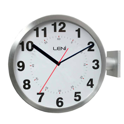Buy leni dual sided station mounted metal wall clock for Dual time wall clock