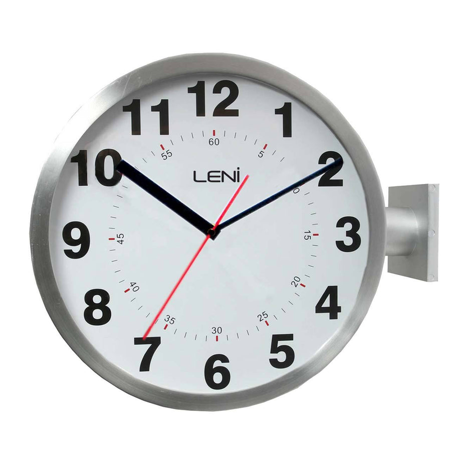 leni dual sided station mounted wall clock metal silver 62021sil
