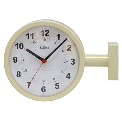 Leni Double Sided Station Wall Clock Metal Ivory 20cm A62030IVO Side