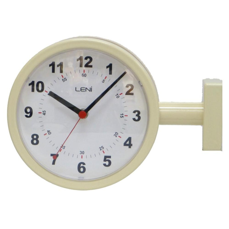 Leni Double Sided Metal Station Wall Clock, Ivory, 20cm