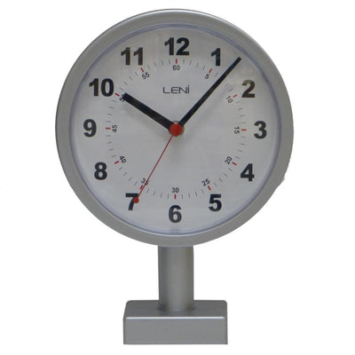 Leni Double Sided Station Wall Clock Metal Silver 20cm A62030SIL Front