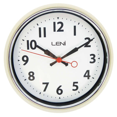 Leni Essential Wall Clock Ivory Front A62029IVO