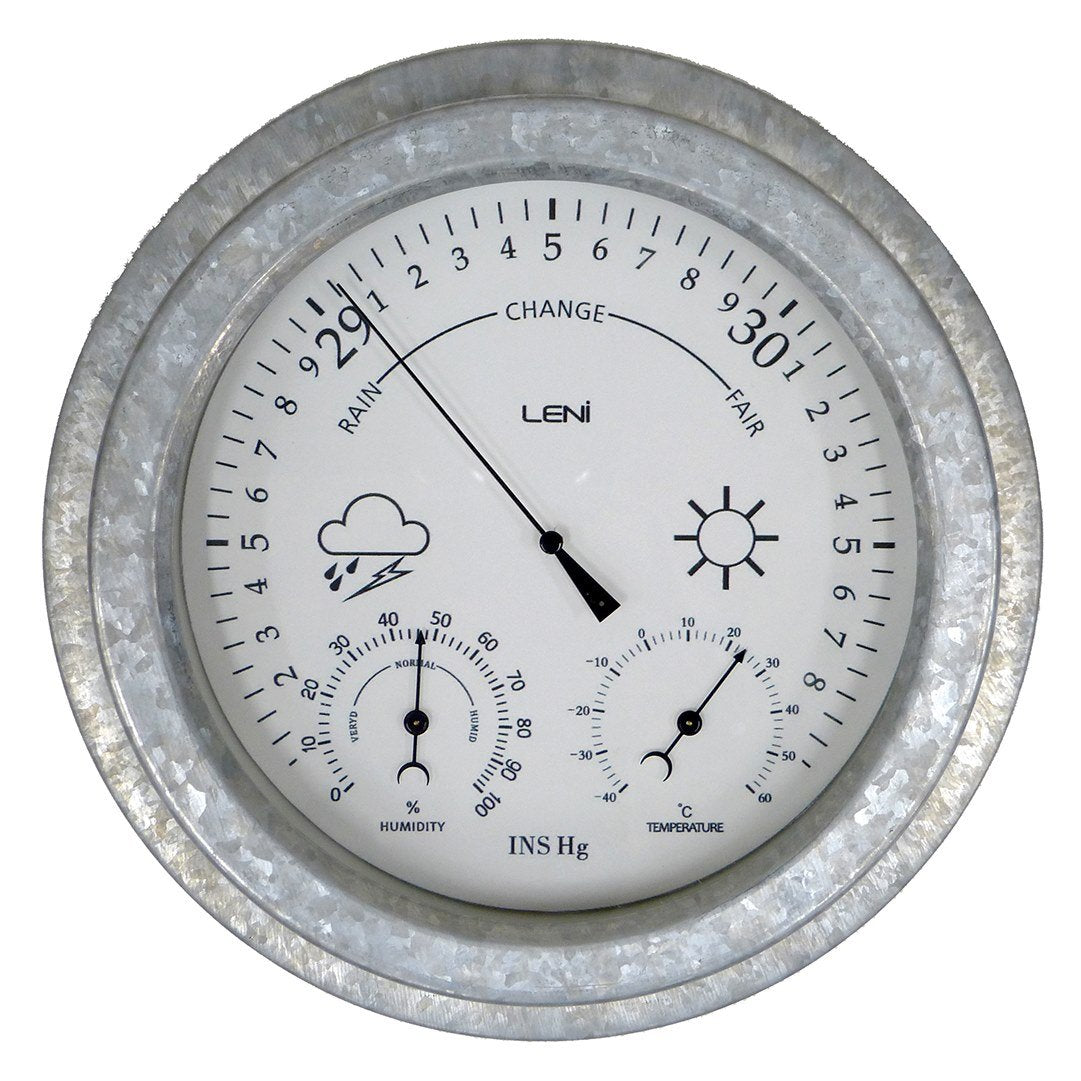 Leni Galvanised Outdoor Barometer, Silver, 22cm