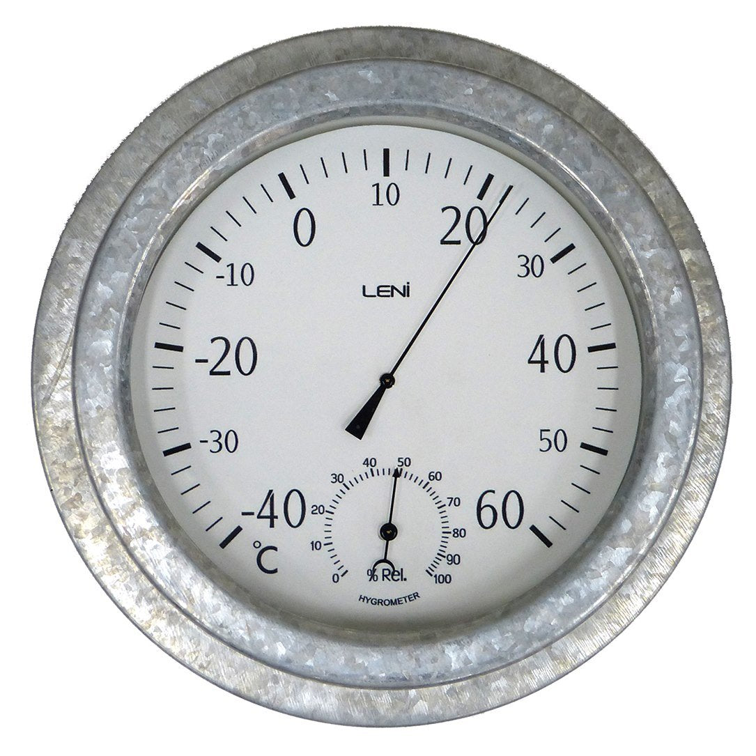 Leni Galvanised Outdoor Thermometer, Silver, 22cm