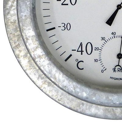 Leni Galvanised Outdoor Thermometer Silver 22cm 640004 3