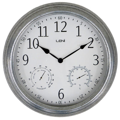 Leni Galvanised Outdoor Wall Clock Silver 41cm 640001 1