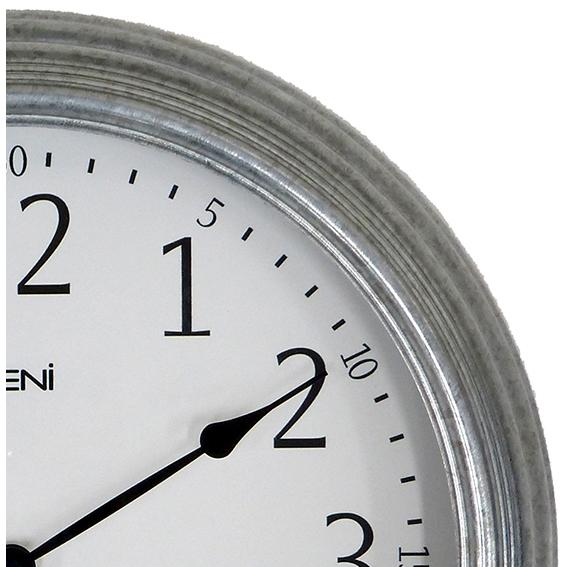 Leni Galvanised Outdoor Multifunction Wall Clock, Silver, 41cm