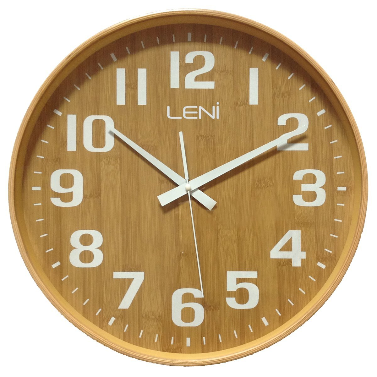 Leni Wood Wall Clock, Bamboo, Large, 40cm