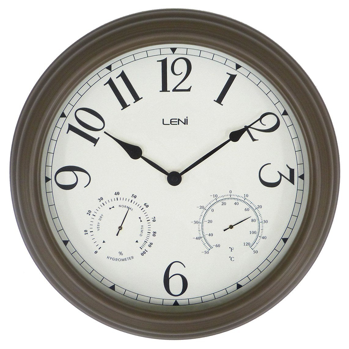 Leni Outdoor Multifunction Wall Clock, Brown, 41cm