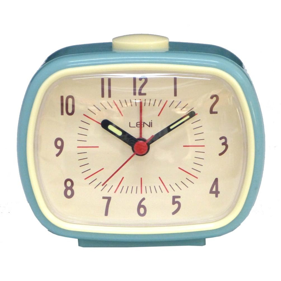 Leni Retro Alarm Clock, Smokey Blue, 11cm