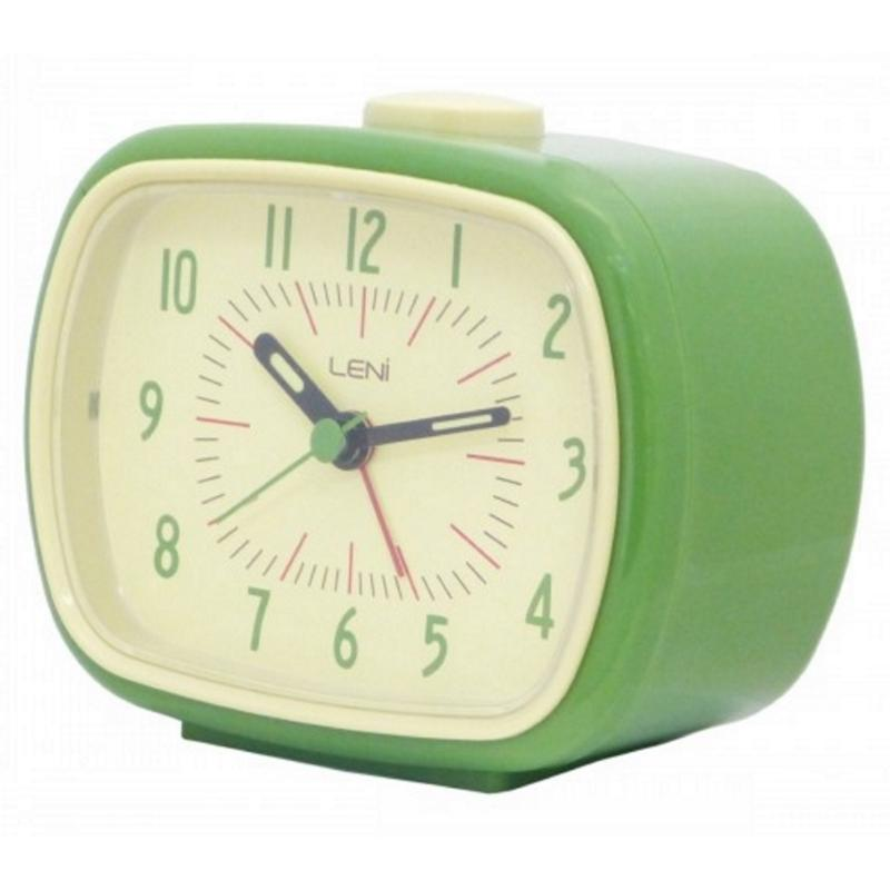 Leni Retro Alarm Clock, Green, 11cm