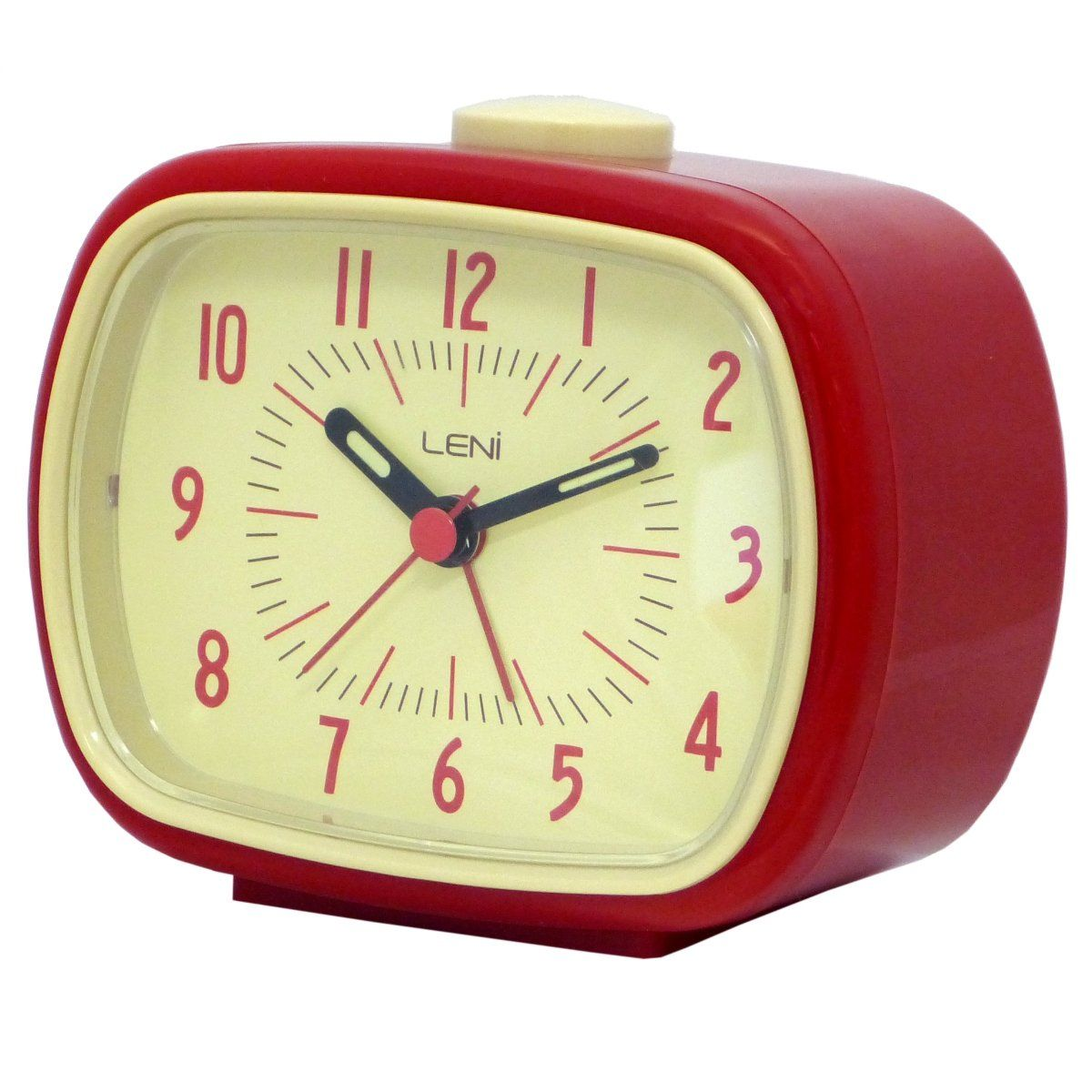 Leni Retro Alarm Clock Red 11cm 62020RED Angle