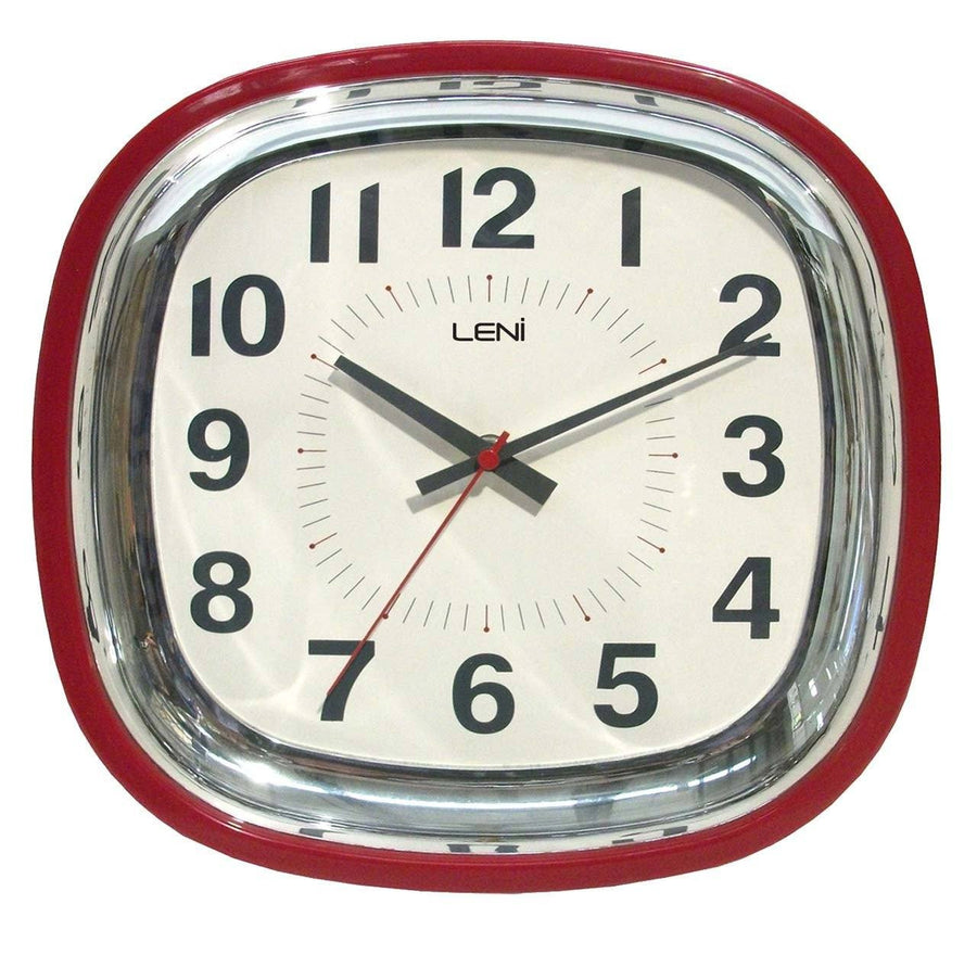 Leni Retro Wall Clock Red 62009RED