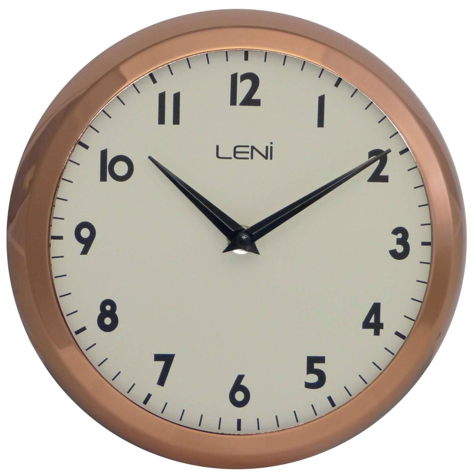 Leni School Wall Clock Metal Copper 23cm 65101COP Front