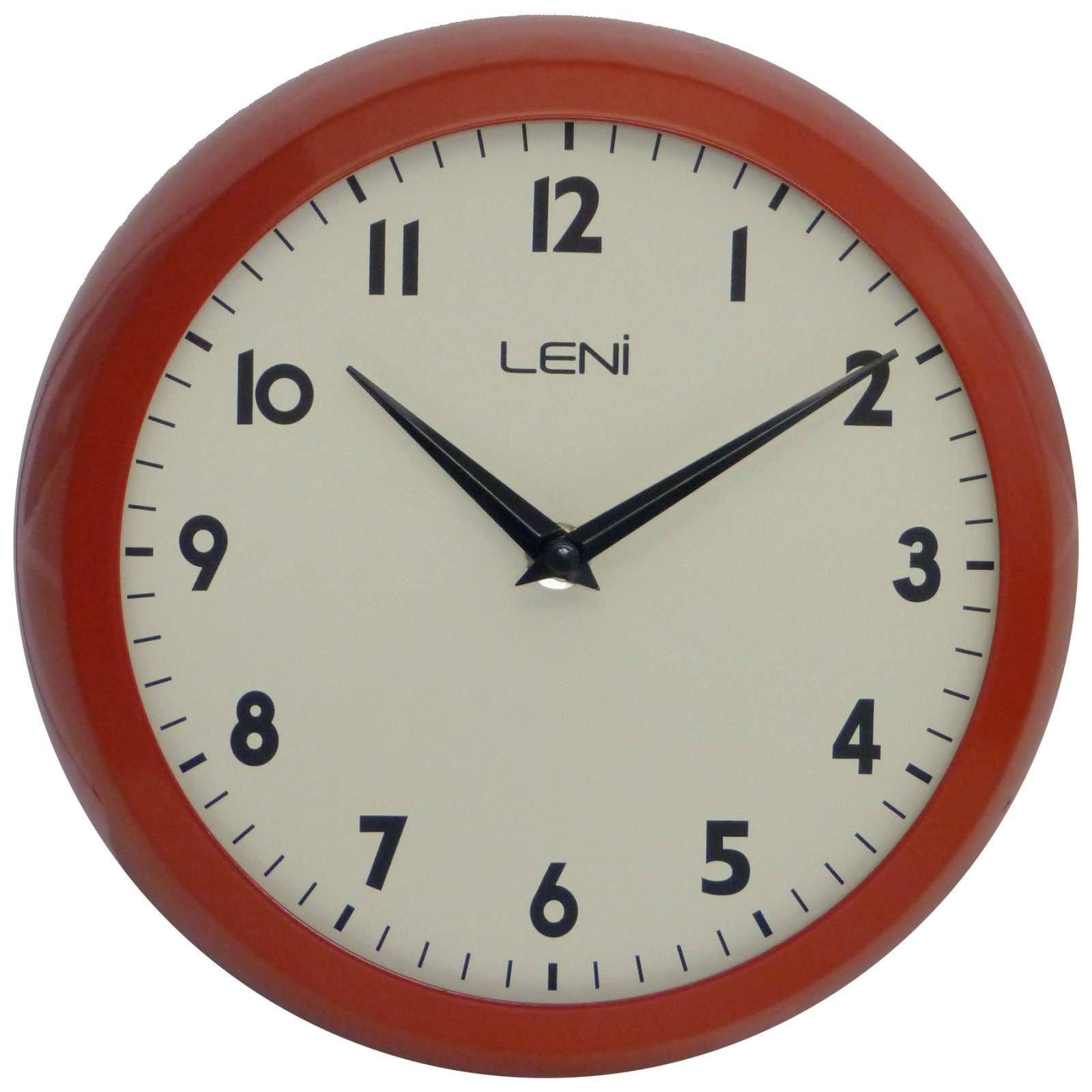 Leni School Wall Clock Metal Red 23cm 65101RED Front
