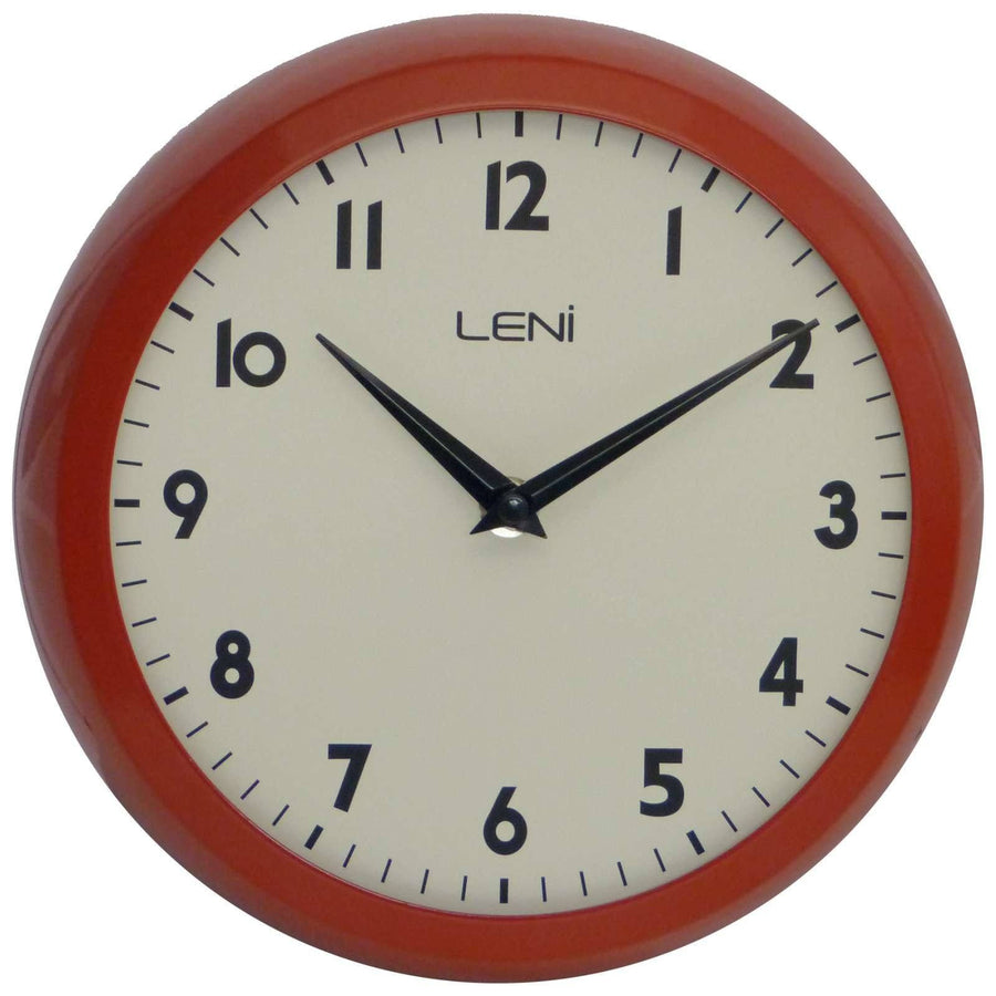 Leni School Wall Clock, Metal, Red, 23cm