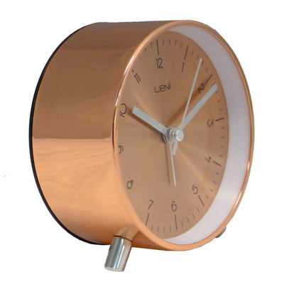 Leni Table Alarm Clock Copper Brown Angle 11cm