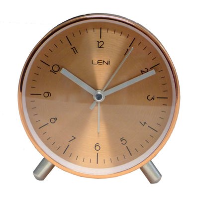 Leni Table Alarm Clock Copper Brown Front 11cm