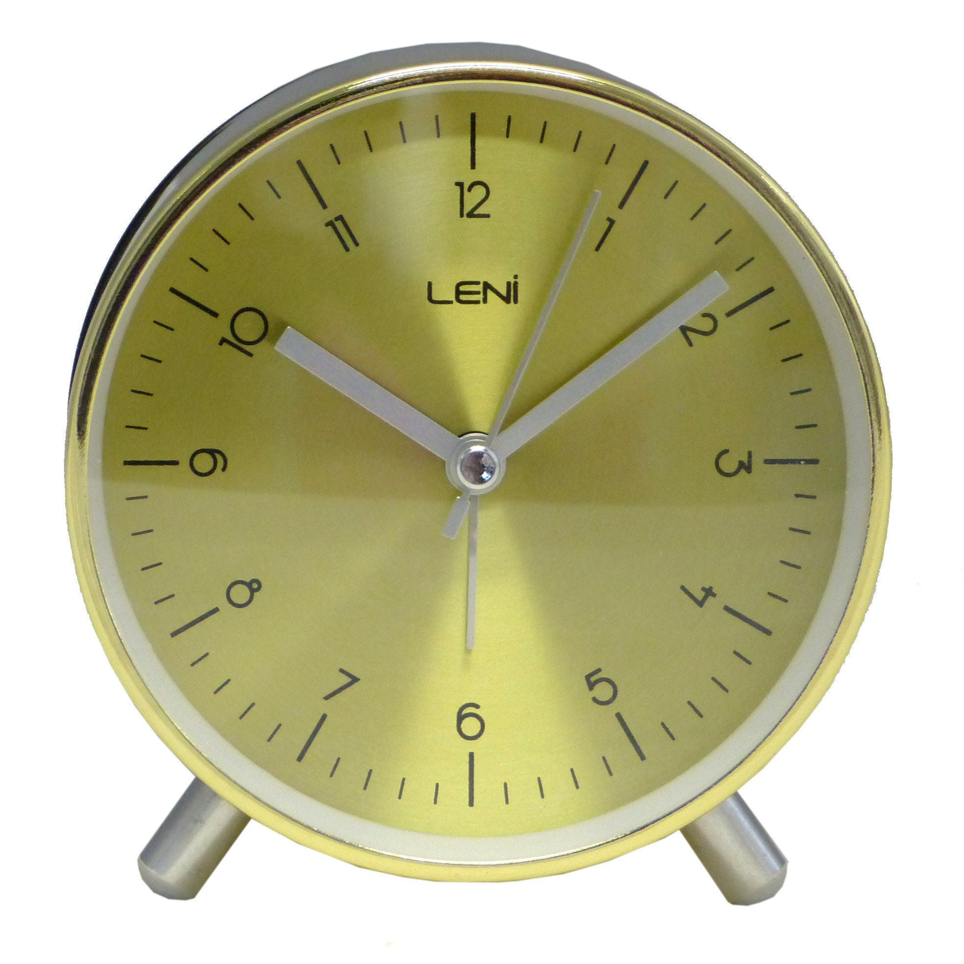 Leni Table Alarm Clock Gold Front 11cm