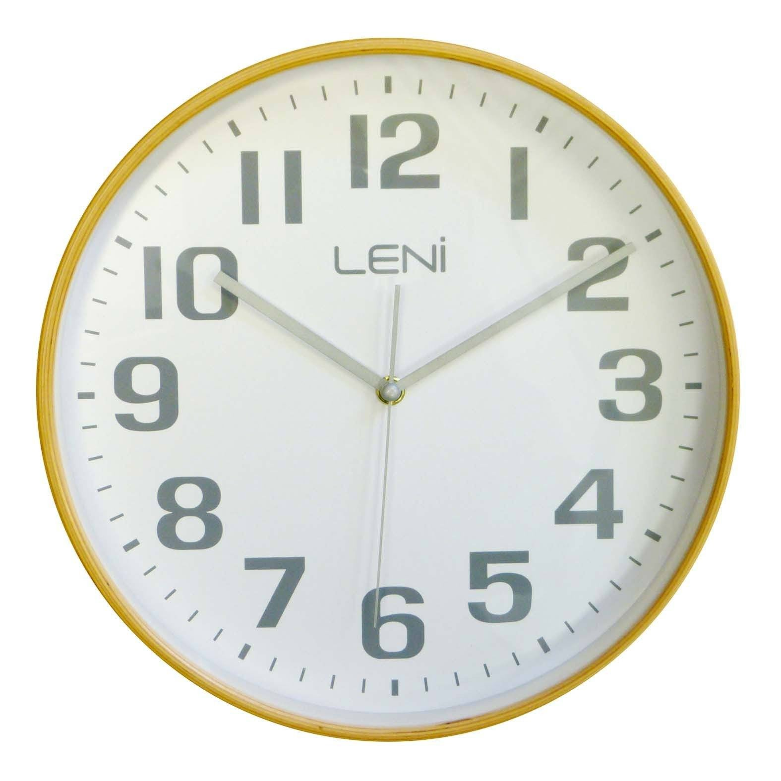 Leni Wood Wall Clock White Large Front 32000WHI