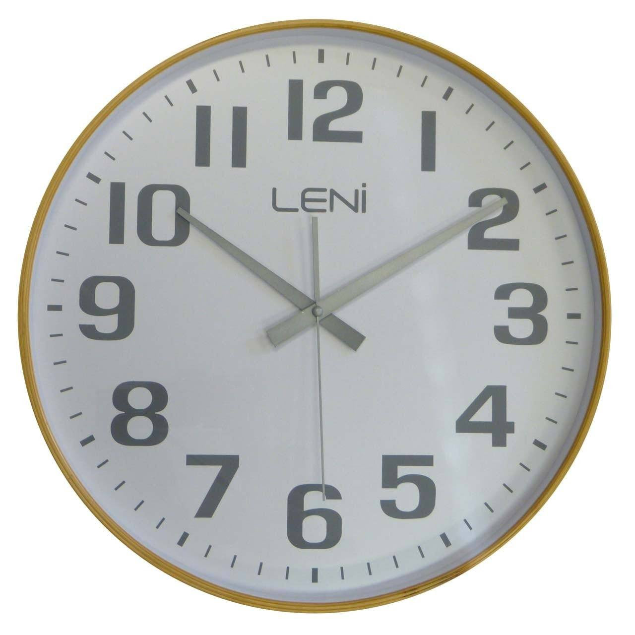 Leni Wood Wall Clock, White, Large, 40cm