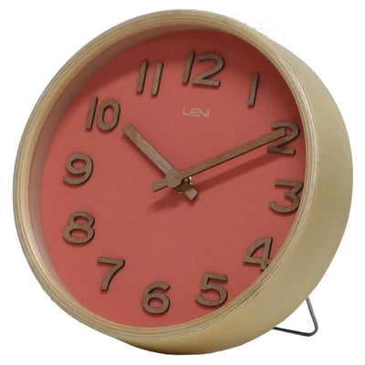 Leni Wood Wall or Desk Clock Coral 18cm 32002COR 1