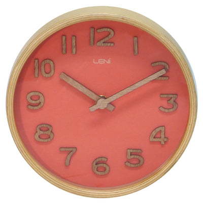 Leni Wood Wall or Desk Clock Coral 18cm 32002COR 2