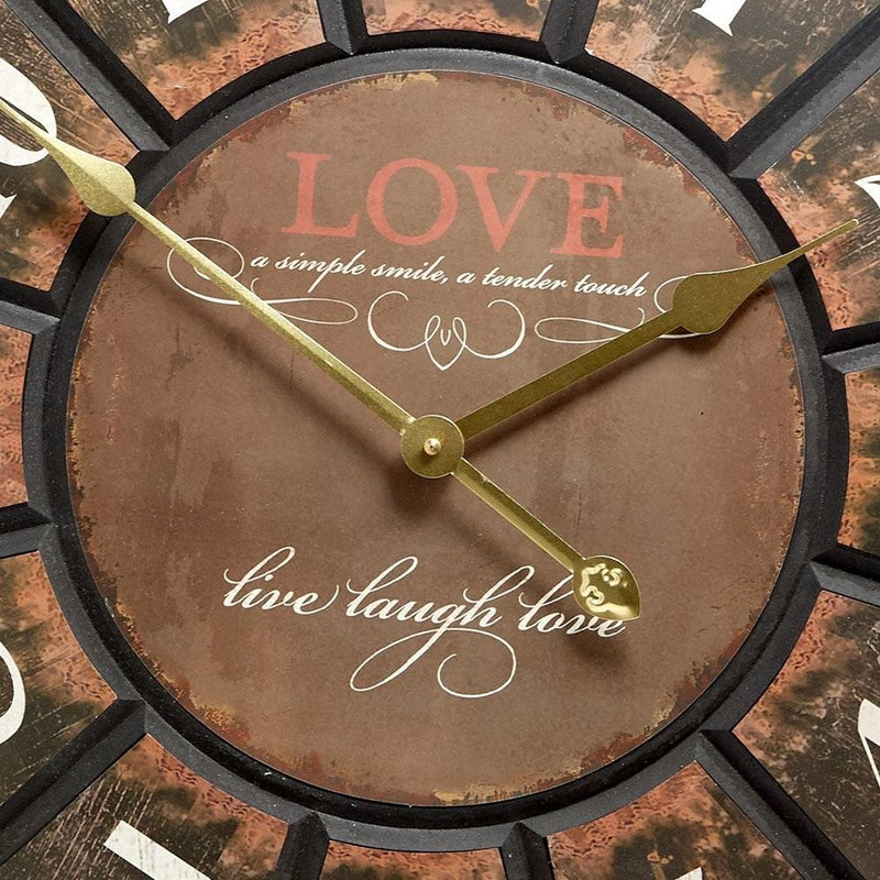 Live Laugh Love Wooden Wall Clock 60cm 11628LOV -Front