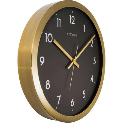 NeXtime Arabic Wall Clock Gold Black 44cm 572523GB Angle