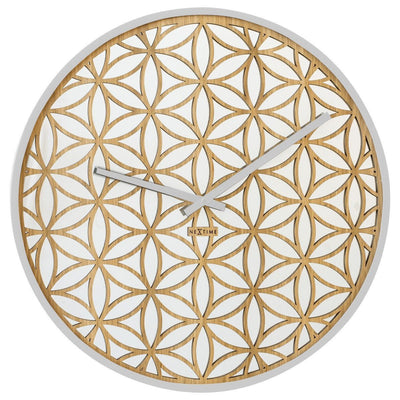 NeXtime Bella Wood and Mirror Wall Clock White Gold 50cm 573194WI Front