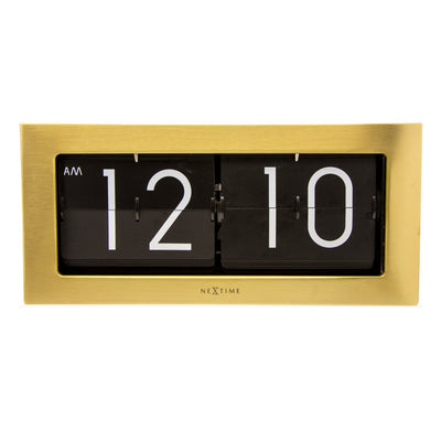 NeXtime Big Flip Wall or Desk Clock Gold 36cm 575198GO 1