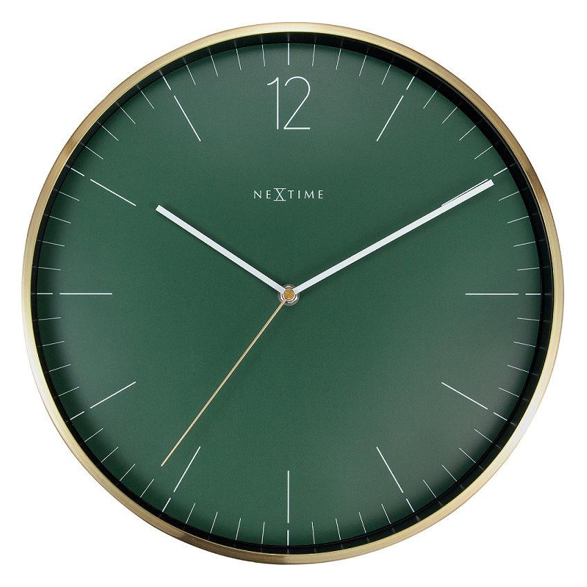 NeXtime Essential Gold Metal Wall Clock Green 34cm 573252GN 1