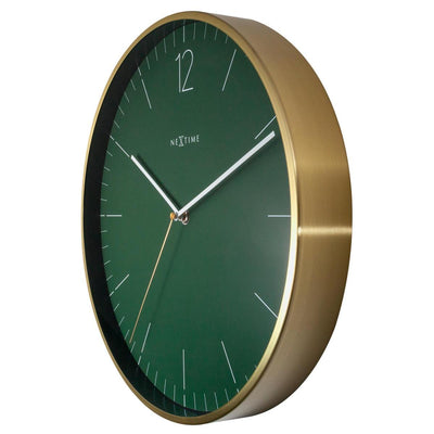 NeXtime Essential Gold Metal Wall Clock Green 34cm 573252GN 3