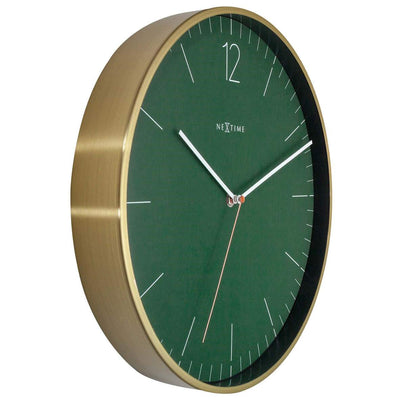 NeXtime Essential Gold Metal Wall Clock Green 34cm 573252GN 4