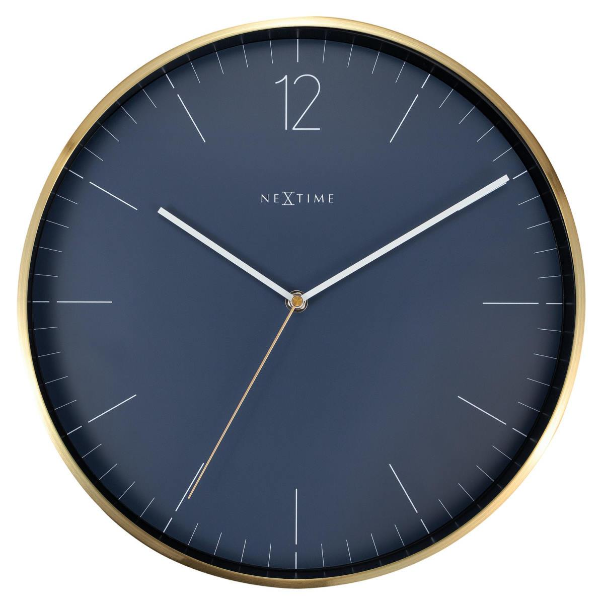 NeXtime Essential Gold Metal Wall Clock Vintage Blue 34cm 573252BL 1