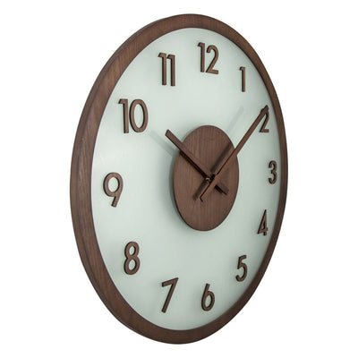 NeXtime Frosted Wood Glass Wall Clock Brown 50cm Angle 573205BR