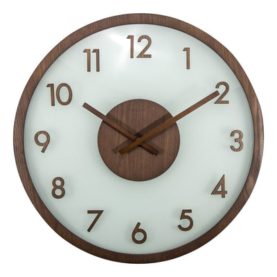 NeXtime Frosted Wood Glass Wall Clock Brown 50cm Front 573205BR