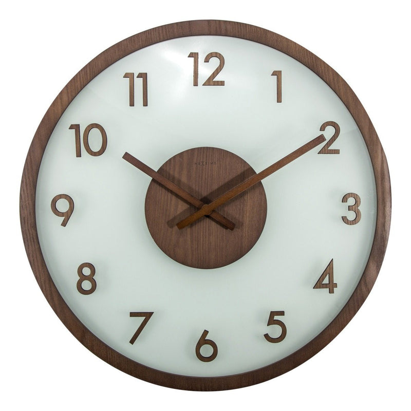 NeXtime Frosted Wood Glass Wall Clock, Brown, 50cm
