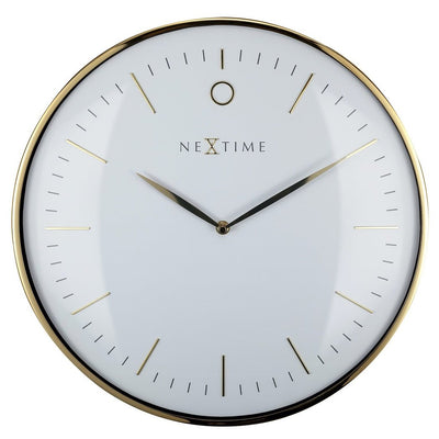 NeXtime Glamour Wall Clock Gold and White 30cm 573256WI 1