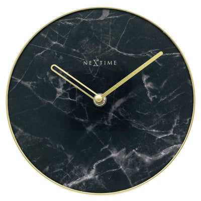 NeXtime Marble Glass Desk Clock Black and Gold 20cm 575222ZW 1