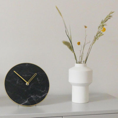 NeXtime Marble Glass Desk Clock Black and Gold 20cm 575222ZW 2