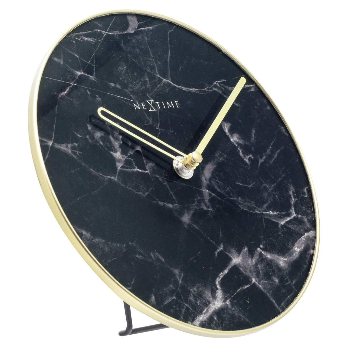 NeXtime Marble Glass Desk Clock Black and Gold 20cm 575222ZW 4
