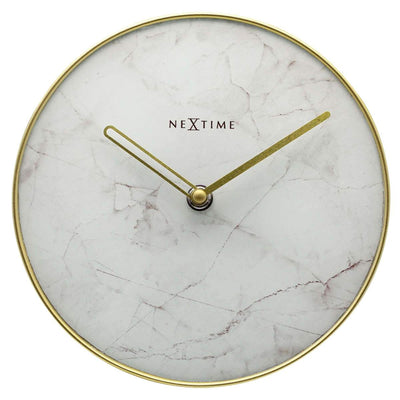 NeXtime Marble Glass Desk Clock White and Gold 20cm 575222WI 1