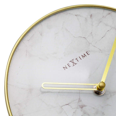NeXtime Marble Glass Desk Clock White and Gold 20cm 575222WI 2