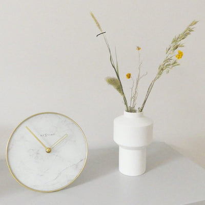 NeXtime Marble Glass Desk Clock White and Gold 20cm 575222WI 5