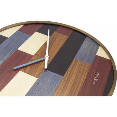 NeXtime Patch Wood Wall Clock Brown 45cm 573232 Flat1