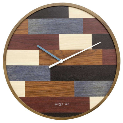 NeXtime Patch Wood Wall Clock Brown 45cm 573232 1