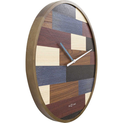 NeXtime Patch Wood Wall Clock Brown 45cm 573232 2