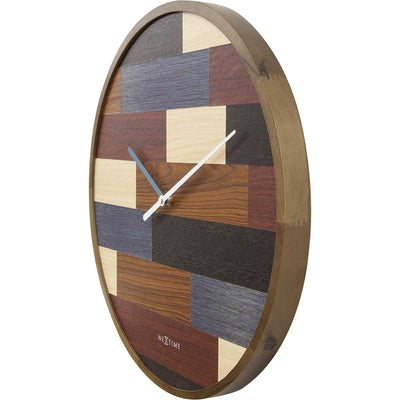 NeXtime Patch Wood Wall Clock Brown 45cm 573232 3