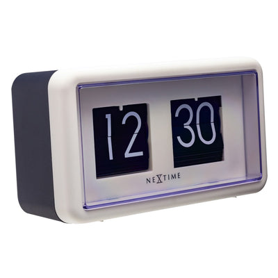 NeXtime Small Flip Wall or Desk Clock White Black 18cm 575228WI 1